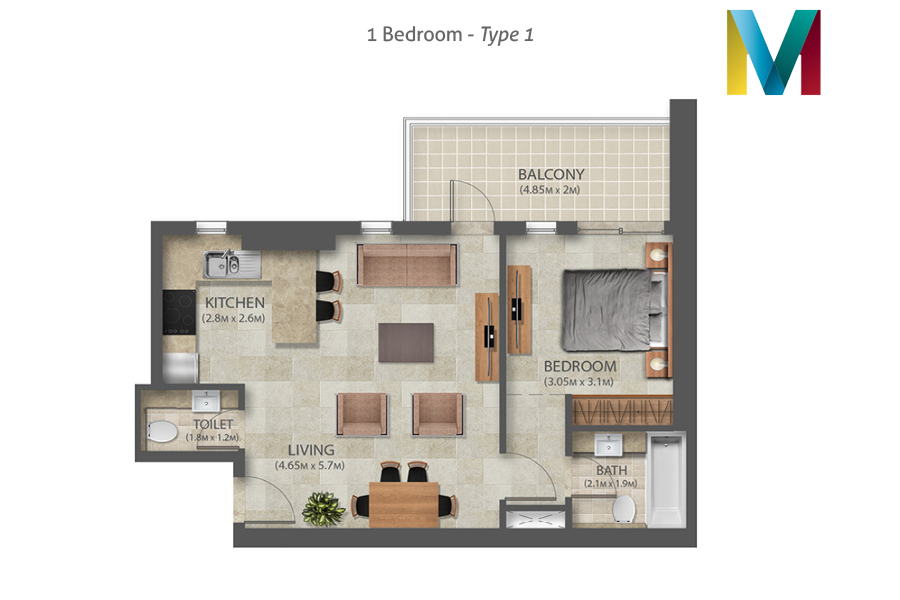 Murano 1 Bedroom floorplan type 1, Dubai, UAE