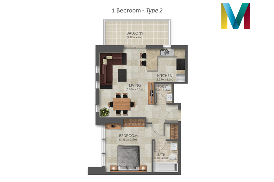 Murano 1 Bedroom floorplan type 2, Dubai, UAE
