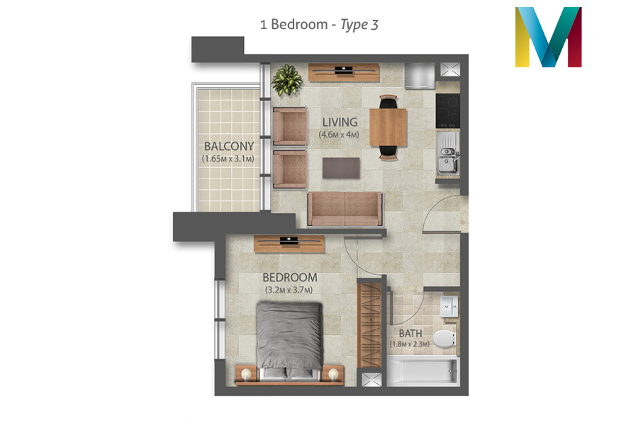 Murano 1 Bedroom floorplan type 3, Dubai, UAE