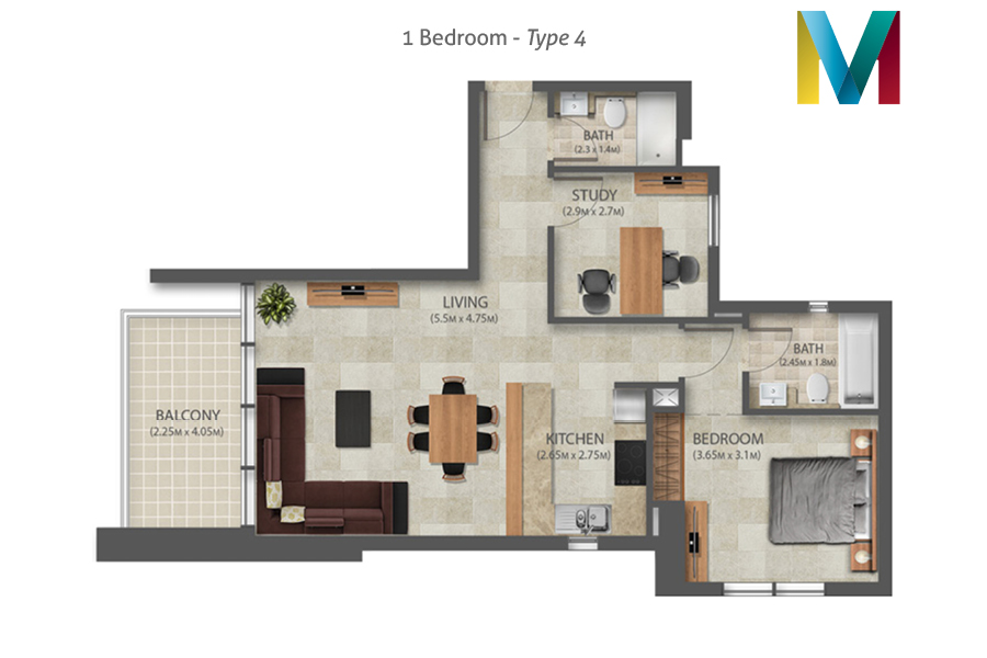 Murano 1 Bedroom floorplan type 4, Dubai, UAE