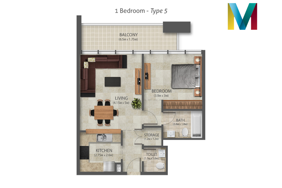 Murano 1 Bedroom floorplan type 5, Dubai, UAE