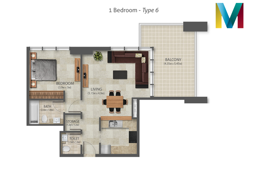 Murano 1 Bedroom floorplan type 6, Dubai, UAE