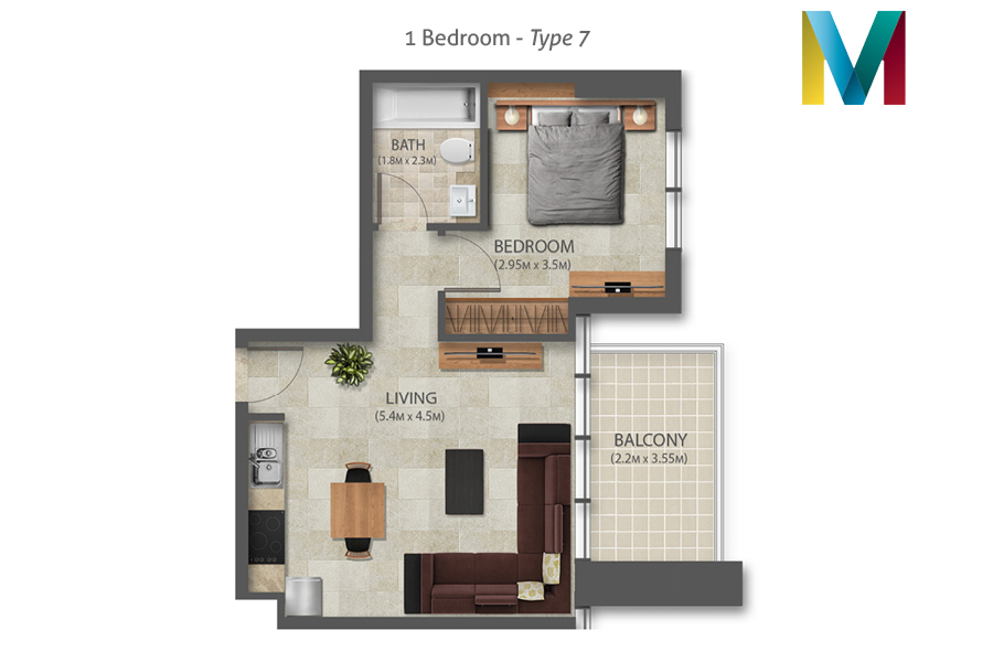Murano 1 Bedroom floorplan type 7, Dubai, UAE