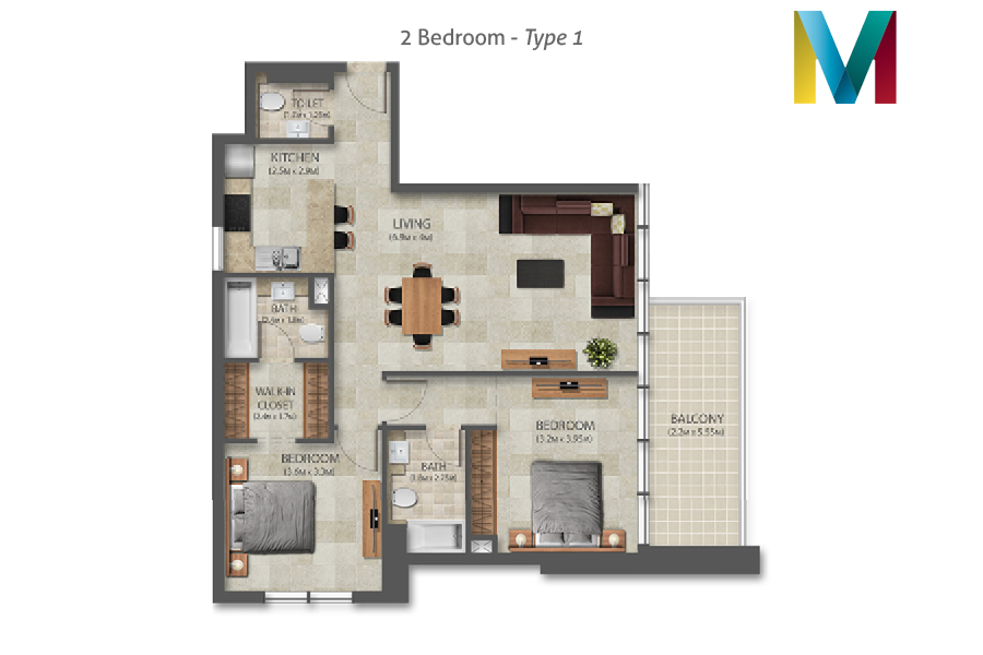 Murano 2 Bedroom floorplan type 1, Dubai, UAE