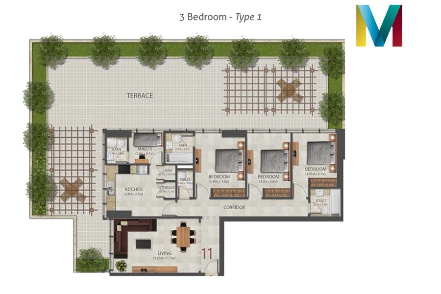 Murano 3 Bedroom floorplan type 1, Dubai, UAE