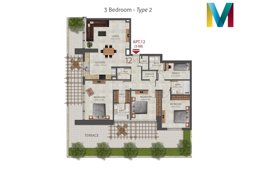 Murano 3 Bedroom floorplan type 2, Dubai, UAE