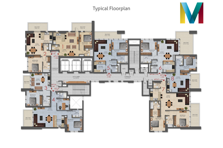 Murano typical floorplan, Dubai, UAE