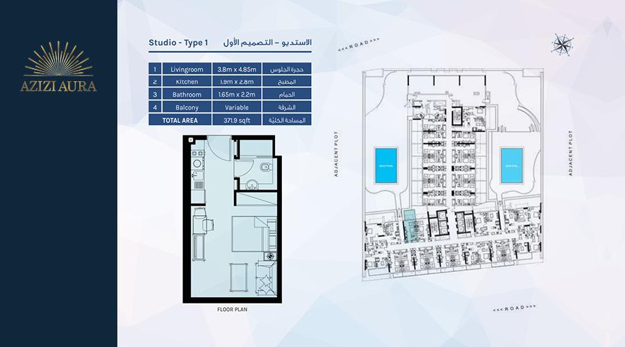 Azizi Aura Residence floorplan studio type 1, Dubai, UAE