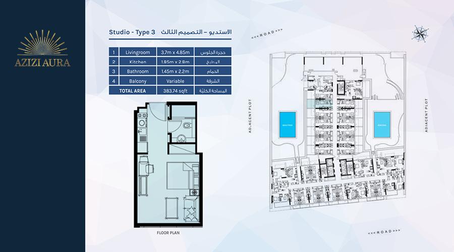 Azizi Aura Residence floorplan studio type 3, Dubai, UAE