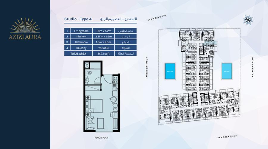 Azizi Aura Residence floorplan studio type 4, Dubai, UAE