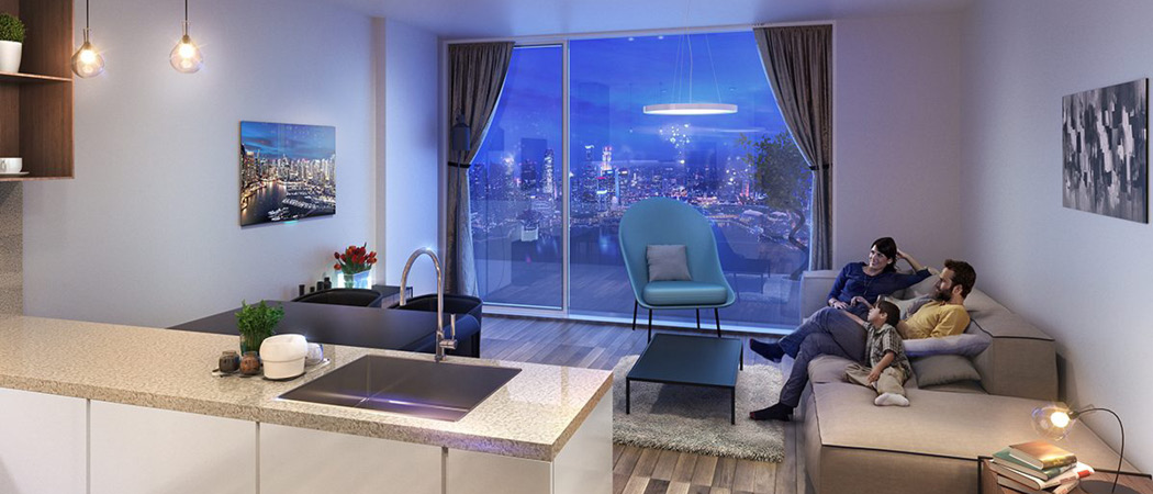 Azizi Aura Residence livingroom, Dubai, UAE