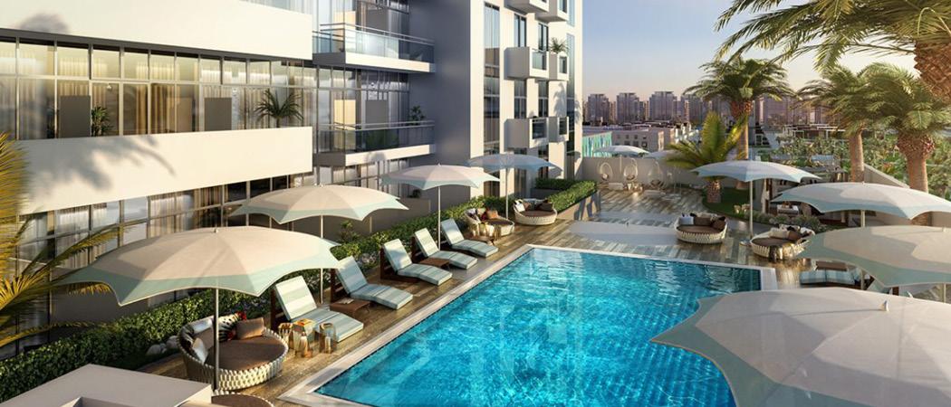 Azizi Aura Residence pool, Dubai, UAE