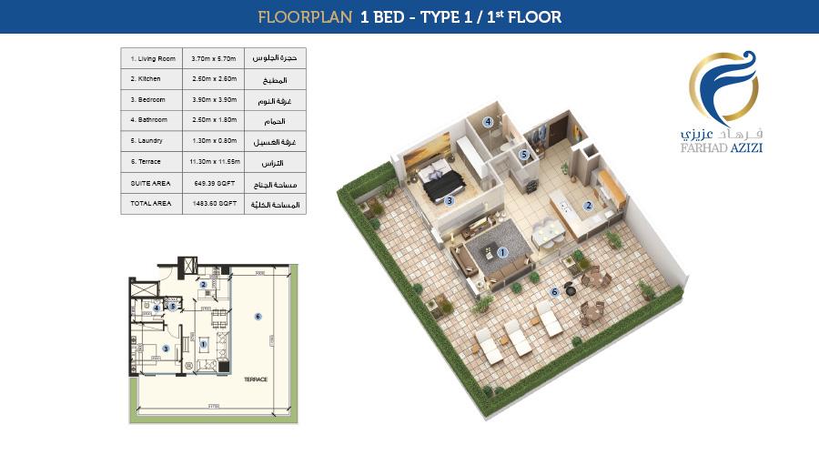 Farhad Residence floorplan 1 bed type 1, Dubai, UAE