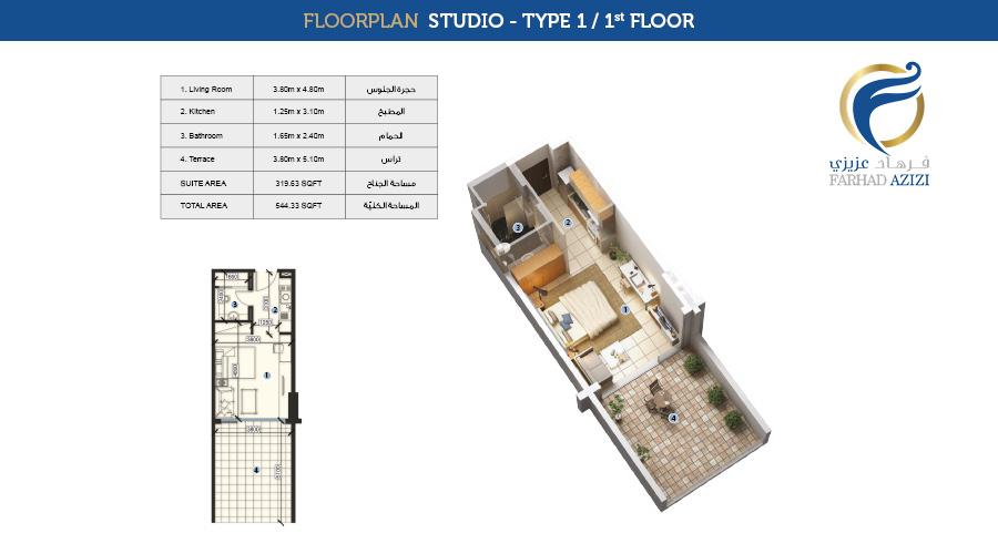 Farhad Residence floorplan studio type 1, Dubai, UAE
