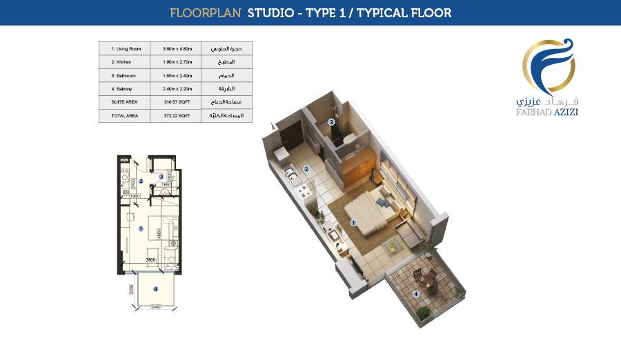 Farhad Residence floorplan studio type 1 typical, Dubai, UAE
