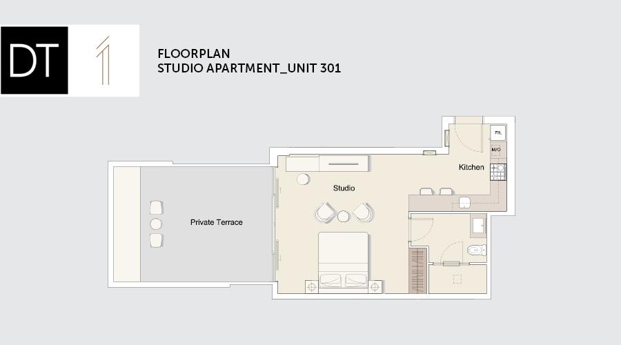 DT1 floorplan studio, Dubai, UAE