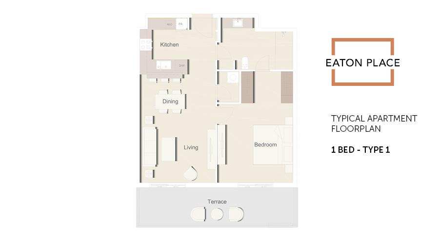 Eaton Place floorplan 1 bed type 1, Dubai, UAE