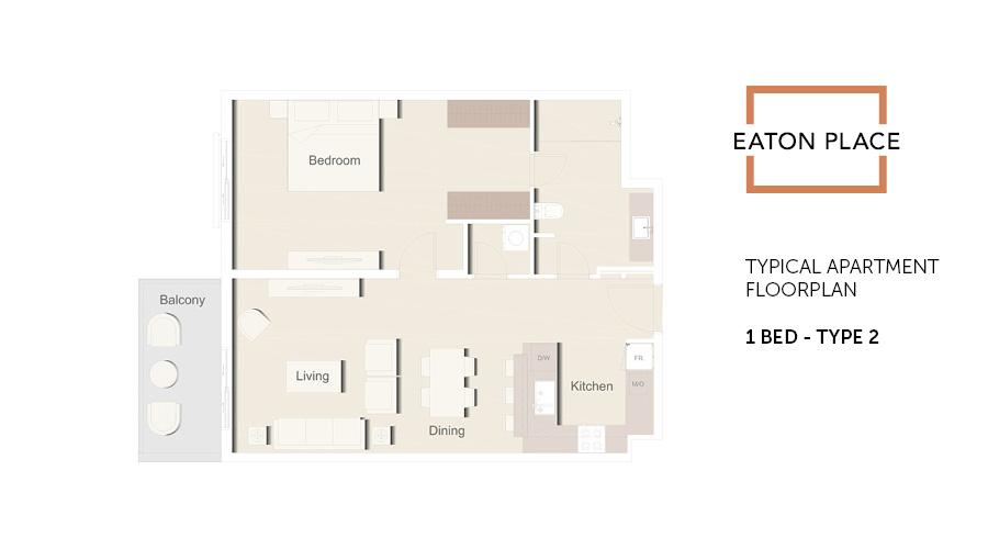 Eaton Place floorplan 1 bed type 2, Dubai, UAE