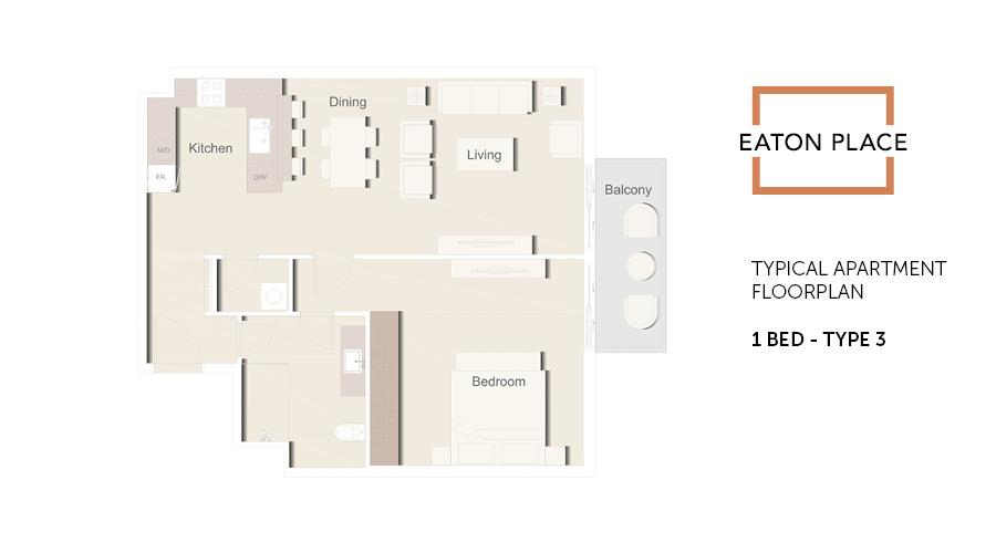 Eaton Place floorplan 1 bed type 3, Dubai, UAE
