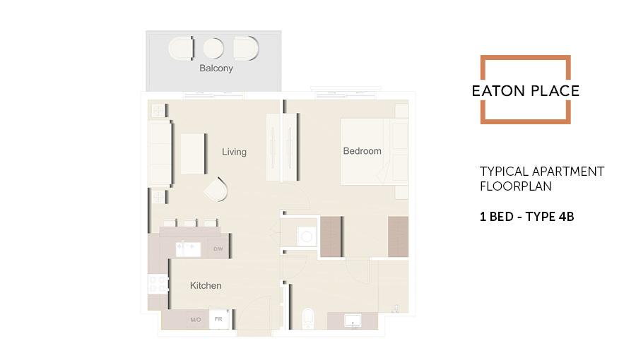 Eaton Place floorplan 1 bed type 4B, Dubai, UAE