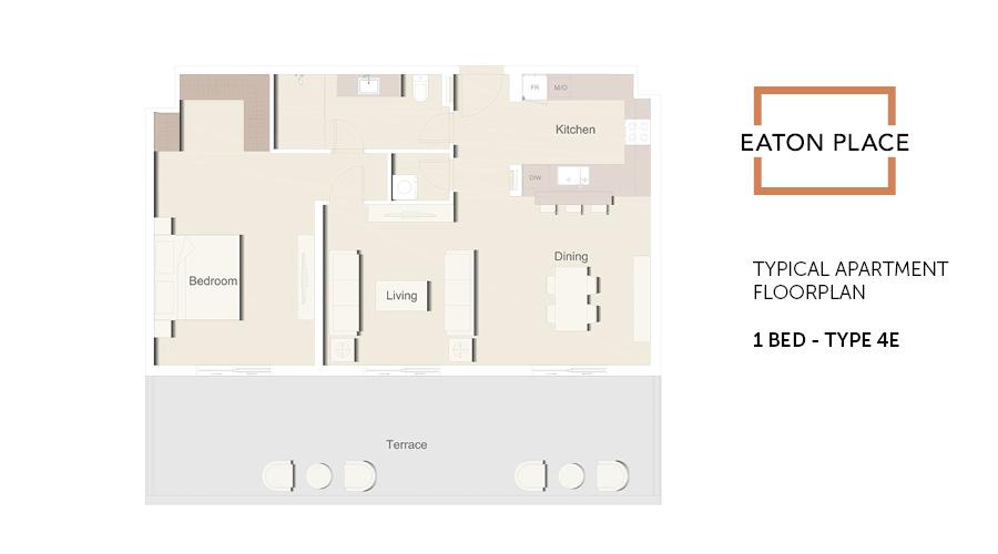 Eaton Place floorplan 1 bed type 4E, Dubai, UAE