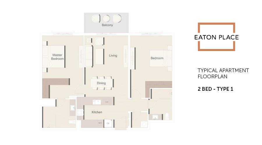 Eaton Place floorplan 2 bed type 1, Dubai, UAE