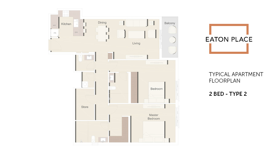 Eaton Place floorplan 2 bed type 2, Dubai, UAE