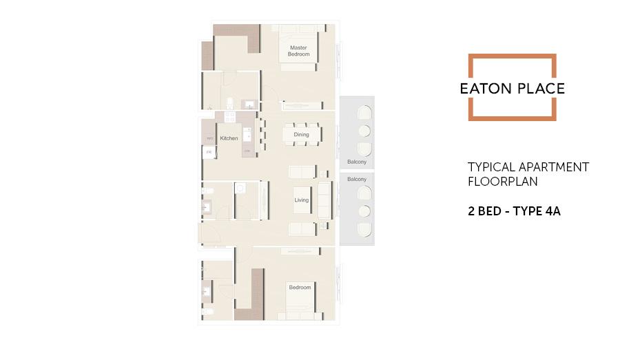 Eaton Place floorplan 2 bed type 4A, Dubai, UAE