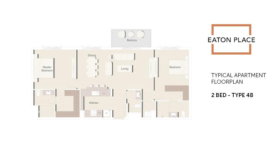 Eaton Place floorplan 2 bed type 4B, Dubai, UAE