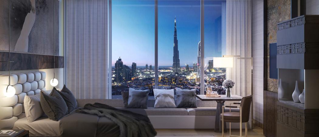 Langham Place bedroom, Dubai, UAE