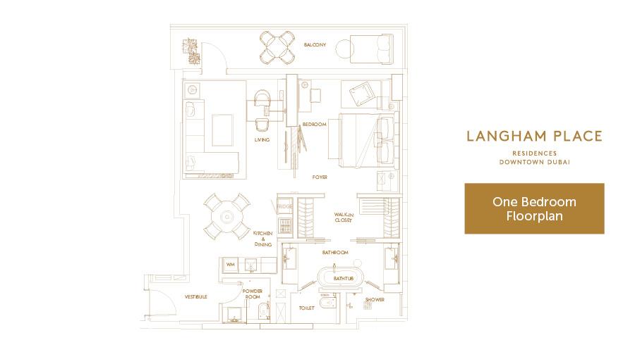 Langham Place 1bed floorplan, Dubai, UAE