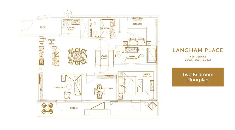 Langham Place 2bed floorplan, Dubai, UAE