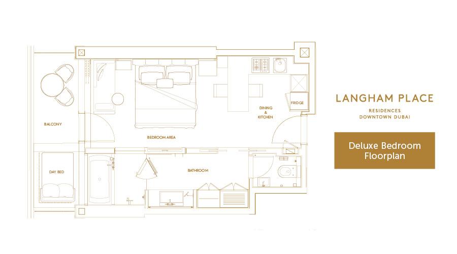 Langham Place Deluxe floorplan, Dubai, UAE