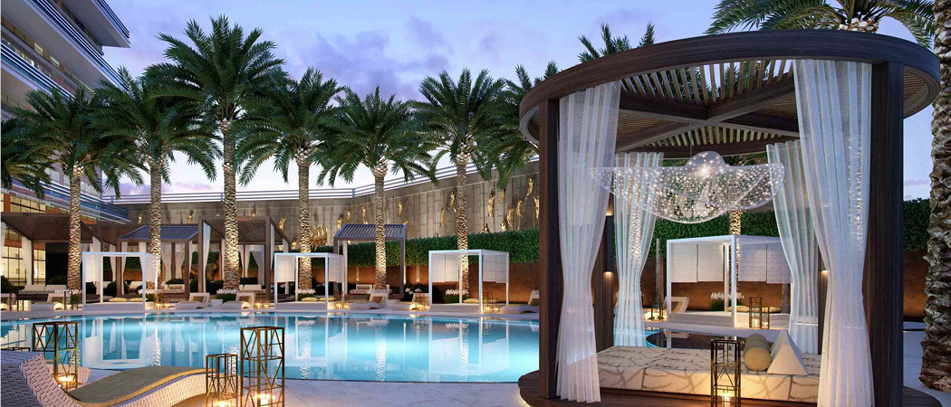 Langham Place swimming pool, Dubai, UAE