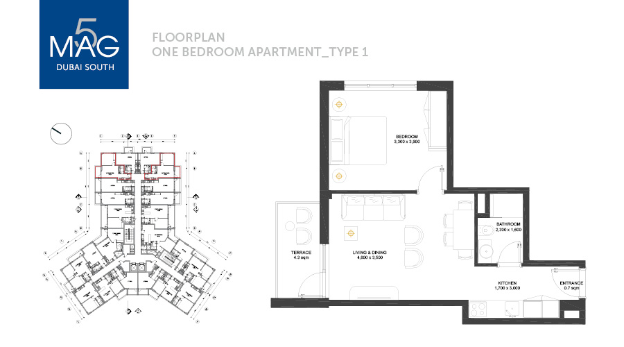 MAG5 1bed type 1 floorplan, Dubai, UAE