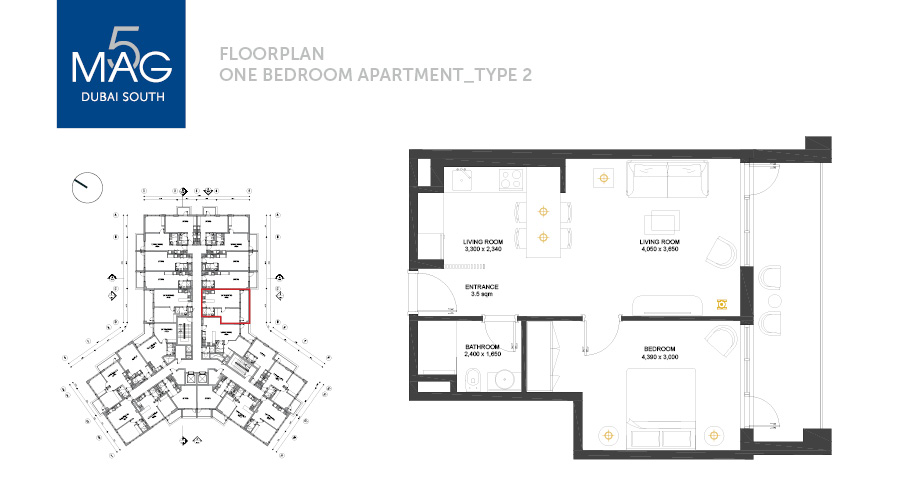 MAG5 1bed type 2 floorplan, Dubai, UAE