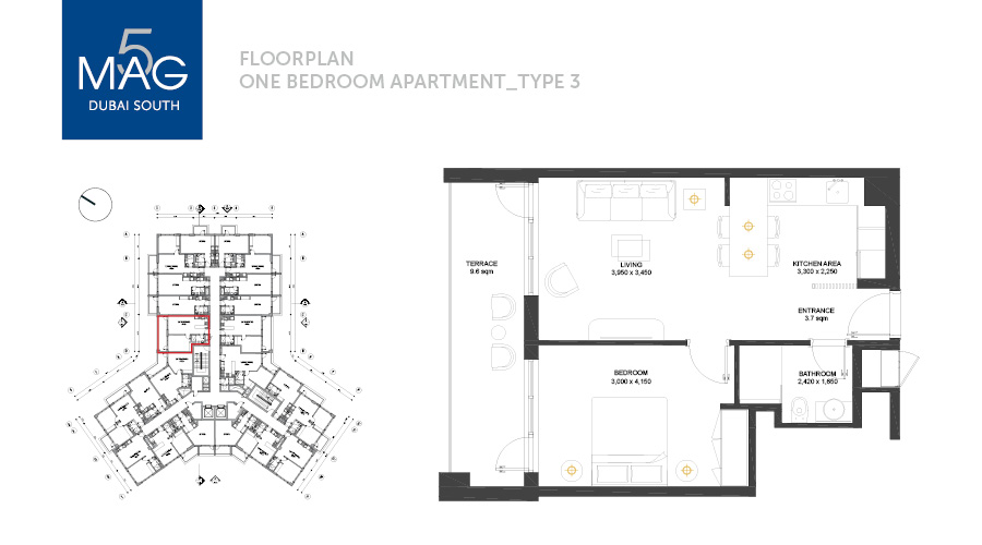 MAG5 1bed type 3 floorplan, Dubai, UAE