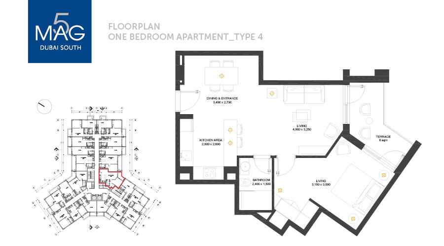 MAG5 1bed type 4 floorplan, Dubai, UAE