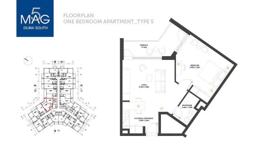 MAG5 1bed type 5 floorplan, Dubai, UAE