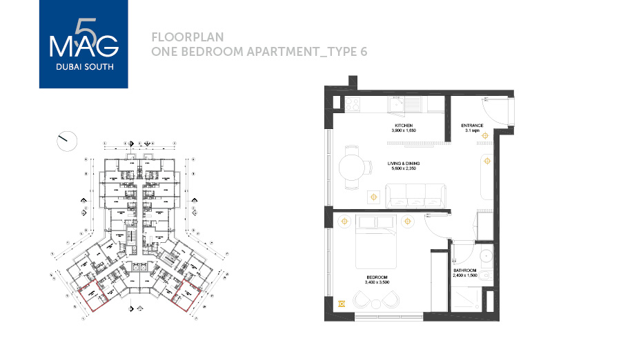 MAG5 1bed type 6 floorplan, Dubai, UAE