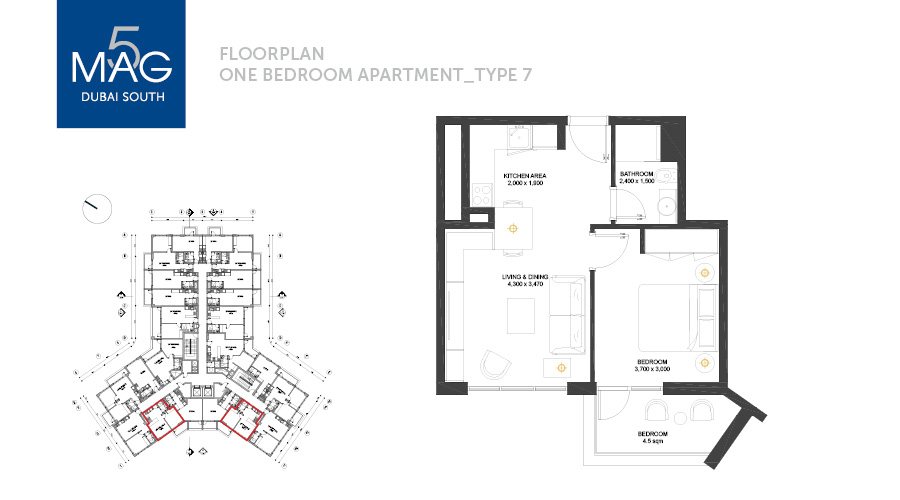 MAG5 1bed type 7 floorplan, Dubai, UAE