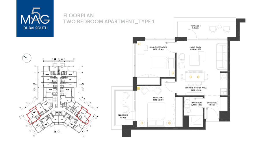 MAG5 2bed floorplan, Dubai, UAE