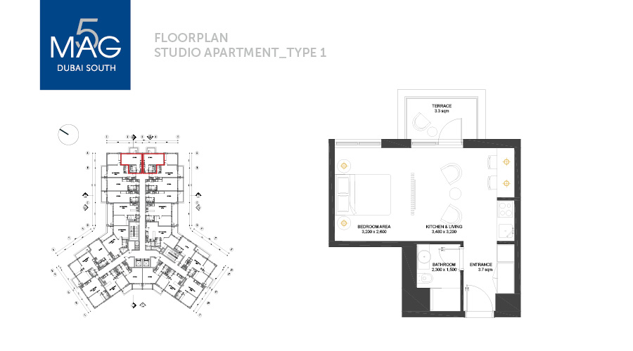 MAG5 studio type 1 floorplan, Dubai, UAE