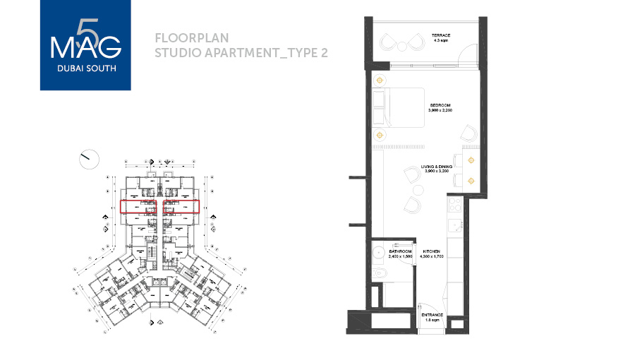 MAG5 studio type 2 floorplan, Dubai, UAE