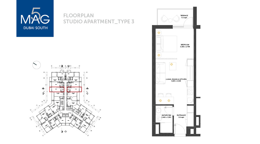 MAG5 studio type 3 floorplan, Dubai, UAE