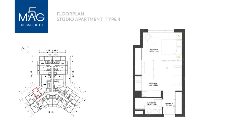 MAG5 studio type 4 floorplan, Dubai, UAE