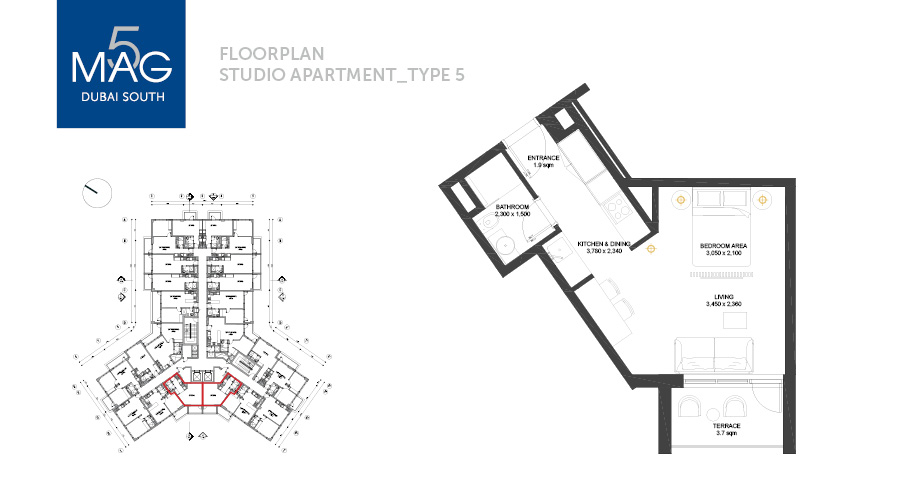 MAG5 studio type 5 floorplan, Dubai, UAE