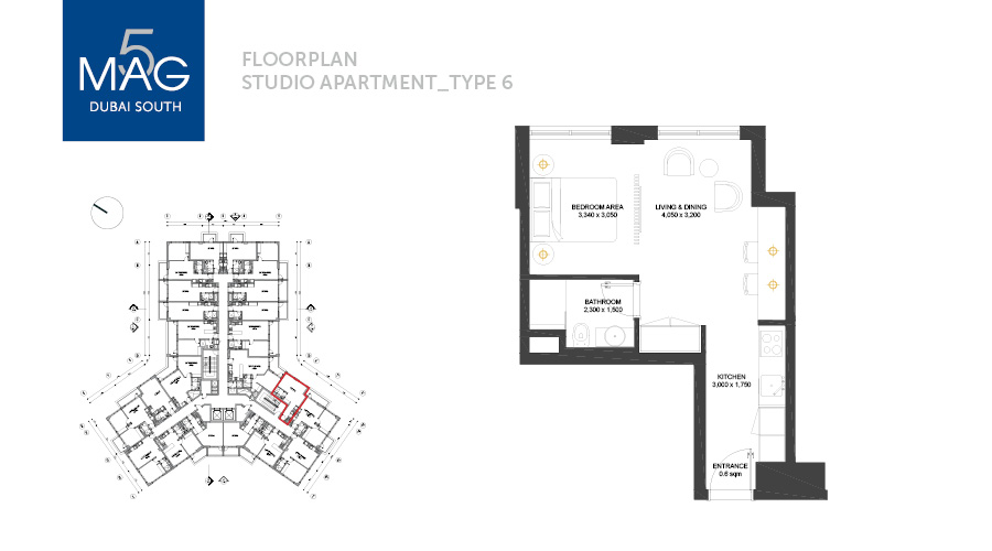 MAG5 studio type 6 floorplan, Dubai, UAE