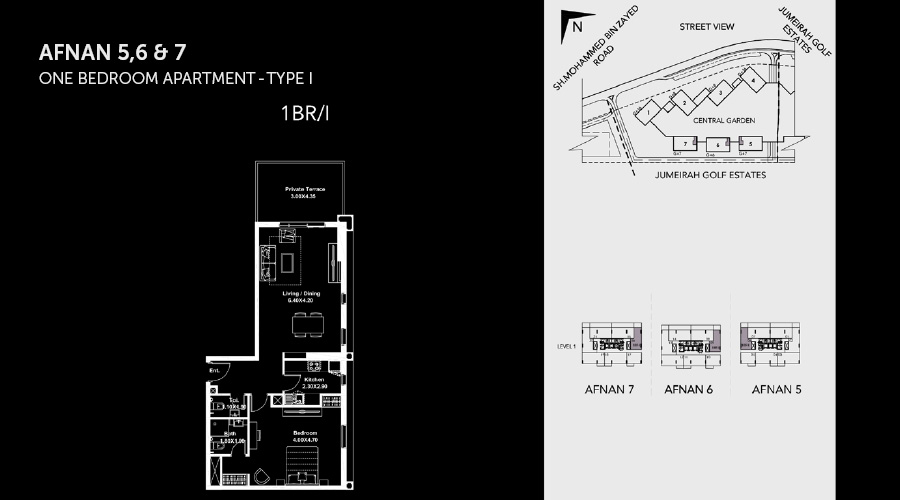 Midtown Afnan 1bed 6 floorplan, Dubai, UAE