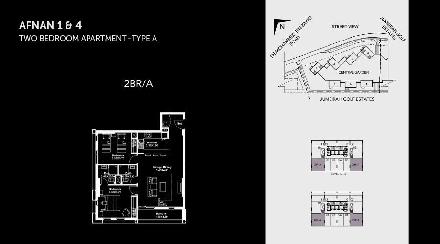 Midtown Afnan 2bed 1 floorplan, Dubai, UAE